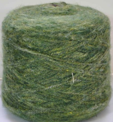 Fine double knit forest melange mohair style shades of green Ramie mix yarn 300g - 1 kilo
